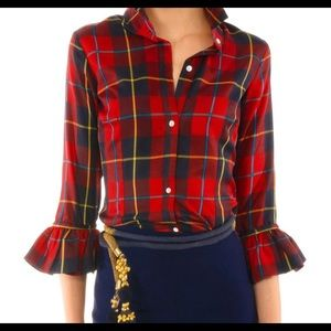 NWT Gretchen Scott Designs Red Plaid Blouse Sz XL